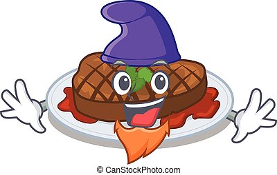 Cute picture of grilled steak in Elf cartoon design. Vector ...