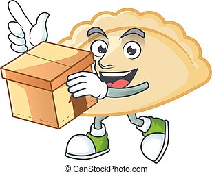 Cute pierogi cartoon character having a box. Vector illustration