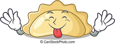 Cute pierogi cartoon mascot style with Tongue out. Vector illustration
