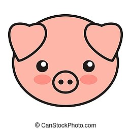 cute pig animal tender isolated icon vector illustration...