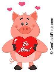Cute Pig Cartoon Character Holding A Be Mine Valentine Love Heart