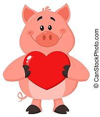 Cute Pig Cartoon Character Holding A Valentine Love Heart
