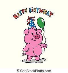 Cute pig cartoon Happy birthday