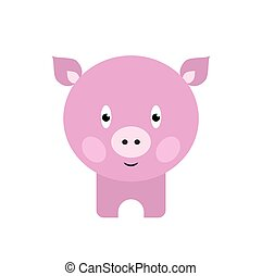 Cute pig cartoon. Happy Smiling Little Baby Pig. - Cute pig...