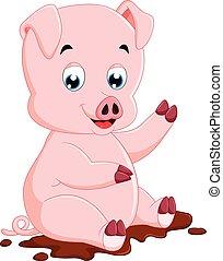 Cute pig cartoon - illustration of Cute pig cartoon