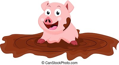 Cute pig cartoon play with mud - vector illustration of Cute...
