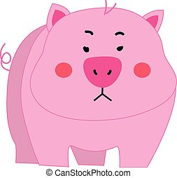 Cute pig cartoon vector