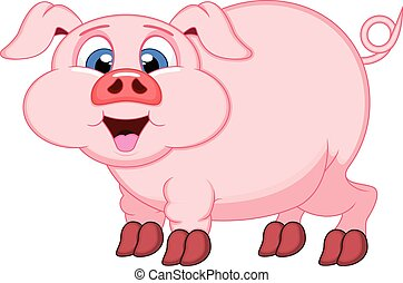 Cute Pig cartoon with smile - colourfull