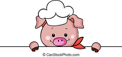 Cute pig chef cook peeking - Scalable vectorial image...