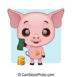 Cute pig demonstrating how to save money in a piggy bank