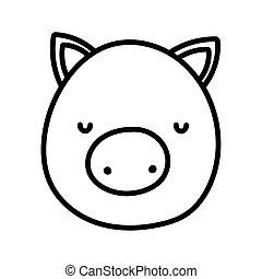 cute pig face farm animal cartoon thick line