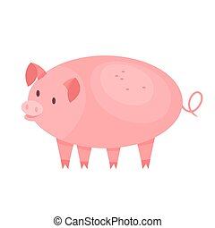 Cute pig. Farm domestic animal with a piglet. Pink creature....