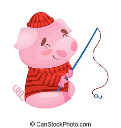 Cute pig fisherman. Vector illustration on white background.
