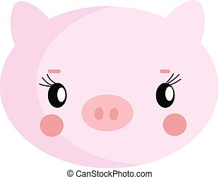 Cute pig hand drawn design, illustration, vector on white background.