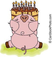 Cute pig holding a Birthday cake