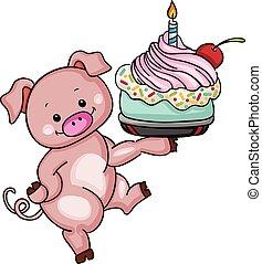 Cute pig holding birthday cake