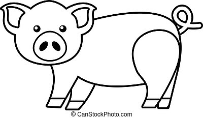 Cute pig icon , outline style - Cute pig icon. Outline...