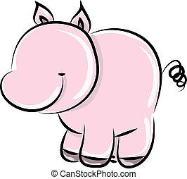 Cute pig, illustration, vector on white background.