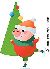 Cute Pig is skating. Christmas tree. Vector illustration.
