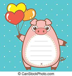 cute pig of scrapbook background.
