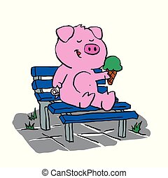 Cute pig sitting on a bench and eating ice cream