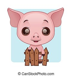 Cute pig standing behind a fence