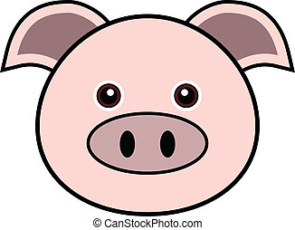 Cute Pig Vector - Cute animal faces in (One of 25 of them).