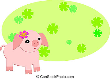 Cute Pig with Floral Sign
