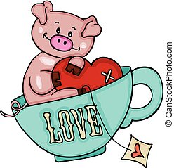 Cute pig with heart inside love cup of tea