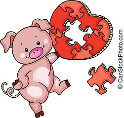 Cute pig with heart shaped puzzle