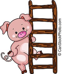 Cute pig with ladder - Scalable vectorial image representing...