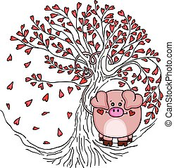 Cute pig with love tree