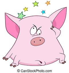 cute pig with stars - cute pig is feeling vertiginous