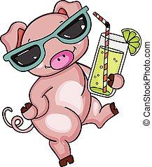 Cute pig with sunglasses drinking lemonade
