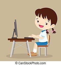 cute, pige, computer, student, arbejder