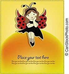 cute, pige, kønne, ladybug