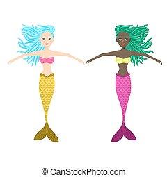 cute, pige, vektor, illustration., havfrue
