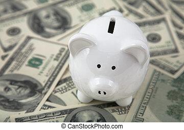 Cute Piggy Bank on heaps of cash - Close up of a cute Piggy...