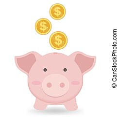 Cute Piggy Bank With Gold Coin On White Background, Saving Money Concept