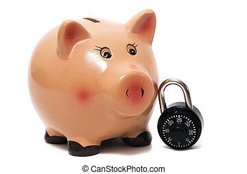 Cute piggy bank with lock