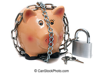 Cute piggy bank with lock