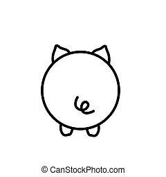 Cute piglet butt illustration