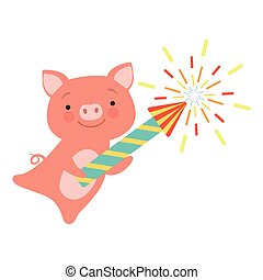 Cute piglet with a party popper, lovely cartoon animal character, design template can be used for New Year or Christmas, Birthday card, banner, poster, holiday decoration vector Illustration