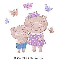 cute, piglets, shorts, menino, filho, mom., caricatura