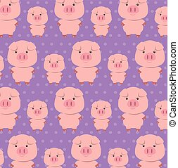 cute pigs father and son characters pattern