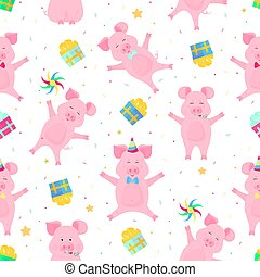 Cute pigs having fun. Funny piglets celebrate their birthday. Boars at a party seamless pattern.