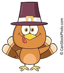 Cute Pilgrim Turkey Bird Character
