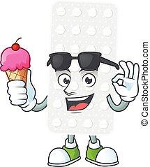 Cute pills cartoon character enjoying an ice cream. Vector ...
