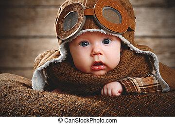 cute pilot aviator baby newborn in brown color