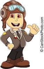 Cute Pilot cartoon - full color
